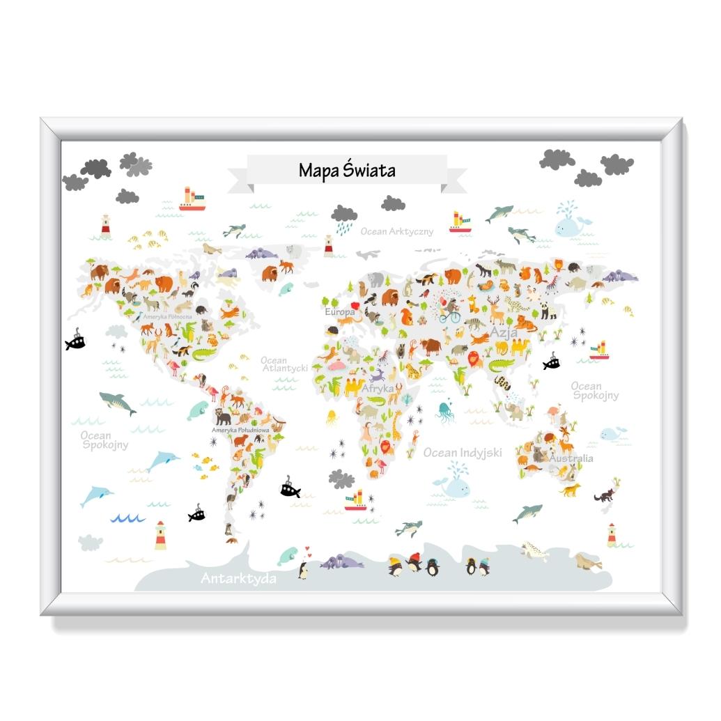 Plakat Mapa świata Kontynenty Ze Zwierzętami